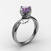 Swan 14K White Gold 1.0 Ct Amethyst Fairy Engagement Ring R1029-14KWGAM