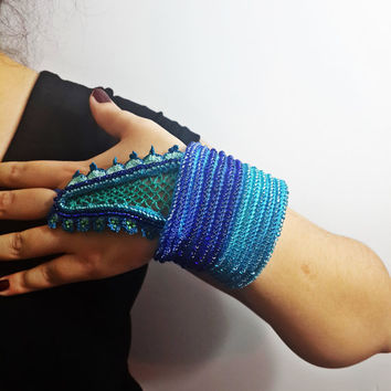 SALE-Sambucus Racemosa:,Beaded Crochet Bracelet ,turquoise blue and emerald green beaded flowers and, Flowerscrocheted lace,