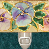 Blue Lavender Pink Pansy Flower Night Light Hand Painted Garden Floral Wall Room Decor Pansies Decorative Nightlight Stained Glass Art
