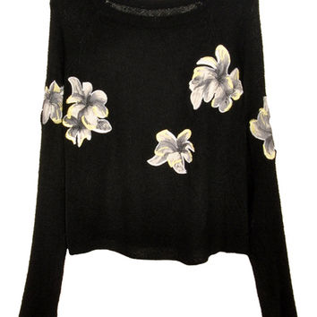 Black Floral  Long Sleeve Cropped Sweater