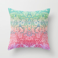 Soft Pastel Rainbow Doodle Throw Pillow by micklyn