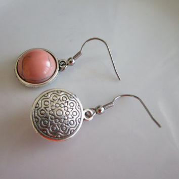 Silver nickel free genuine stone pink turquoise - stainless steel nickel free earring hook - pink turquoise jewelry - genuine stone jewelry