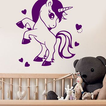 Vinyl Wall Decal Cartoon Pony Unicorn Fairy Tale Nursery Room Stickers (2661ig)