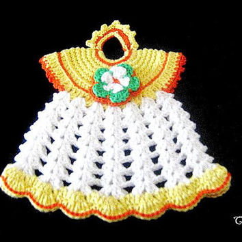 Crochet Potholder, Crochet Dress Potholder, Kitchen Decorations, Presina uncinetto