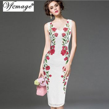 Vfemage Womens Elegant Vintage V Neck Lace Flower Printed Work Office Casual Bridesmaid Mother of Bride Evening Party Dress 3049