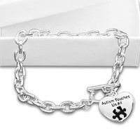 Autism and Aspergers Awareness Bracelet - Autism Touches Us All in a Gift Box