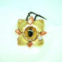 2 Tone Eyeball Flower Necklace with Sparkling Tear