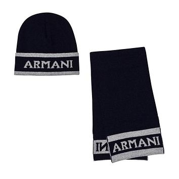 Armani Baby Boys Navy Logo Hat and Scarf Gift Set