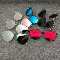 Cat Eye Aviator Sunglasses Women Vintage Fashion Metal Frame Mirror Sun Glasses