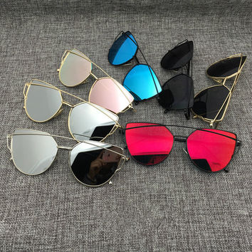 Cat Eye Aviator Sunglasses Women Vintage Fashion Metal Frame Mirror Sun Glasses Unique Flat Ladies Sunglasses UV400