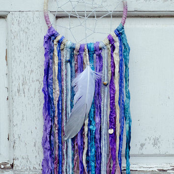 Boho Gypsy Dreamcatcher, Purple, Blue, Bohemian Wall Decor, Shabby Chic, Zen Decor, Sari Silk, Wall Hanging, Mobile, Dream Catcher, Nursery
