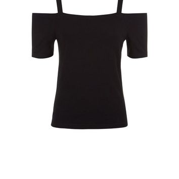 Black Fitted Cold Shoulder Top