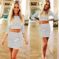 Summer fashion stripe two-piece outfit