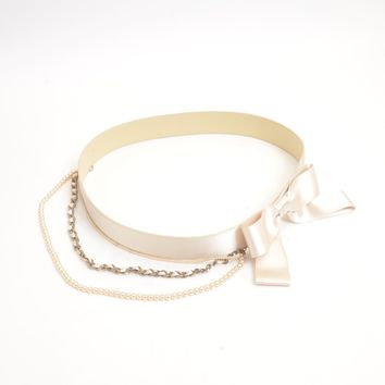 Authentic CHANEL Satin Ribbon motif with Chain 80/32 belt