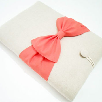 13 inch MacBook Air/ Pro/Retina Sleeve Case,Padded Laptop Cover,SUPERIOR Shock Absorbent Padding,Eco-friendly-Natu­ral Linen,Coral Double Bow