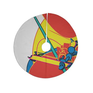 """Frederic Levy-hadida """"Pop Overload 3"""" Red Yellow Illustration Tree Skirt"""