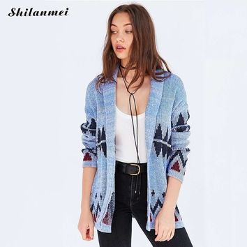 New High Quality Blue Floral Cardigan Sweater Women Winter Autumn Mid-long 2017 Female Geometric Knitted Outerwear Sweater Tops