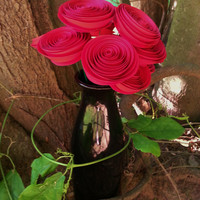 One Dozen Red Paper Flowers - Handmade Rolled Paper Flowers for Brides, Weddings, Showers, Birthdays