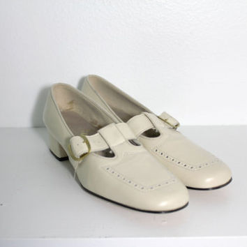 1960s Cream Mary Jane Oxford Loafers by Enna Jetticks // Size 7 1/2 AAA
