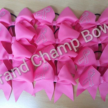 """Breast Cancer Awareness Pink Bling Cheer Cheerleader 3"""" Texas sized Hair Bow Hairbow lot/24 Team Bows October"""