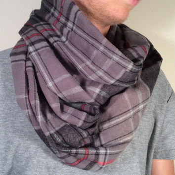 Handmade Infinity Scarf Plaid Flannel - Unisex, Men, Boyfriend, Double  Layer Circle -  Gray, Red, Black, Christmas Present, Holiday Gift