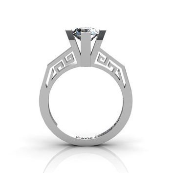 Modern Classic 14K White Gold 1.0 Carat White Sapphire Bridal Solitaire Wedding Ring Engagement Ring R1024-14KWGWS