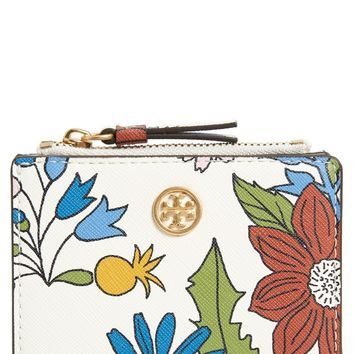 Tory Burch Mini Robinson Floral Leather Wallet | Nordstrom