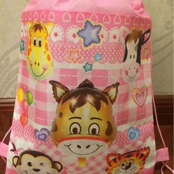12 pcs /lot zoo animal tiger deer monkey printed backpack for kids swimm stuff supply school bag Backpack for girls,boys party