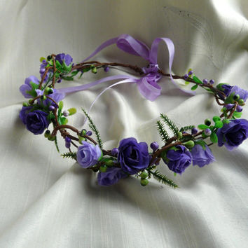 Purple Rose Crown, Woodland Hair Wreath, Purple Wedding Crown, Purple Floral Headband, Bridal Flower Crown