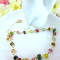 Rainbow tourmaline rondelle gold filled heart bracelet