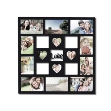 "Adeco Decorative Black Wood ""Love"" Wall Hanging Collage Picture Photo Frame"