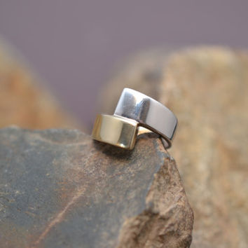 14K White Gold and Yellow Gold Designer Two- Tone Modern Wrap Ring by LeGi