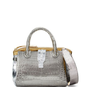 Nancy Gonzalez Cristina Mini Tricolor Crocodile Tote Bag, Anthracite/Gold