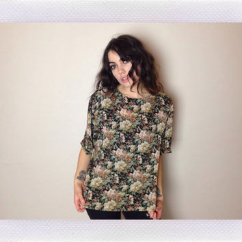 90's SHEER FLORAL TOP - grunge -  loose fit - short sleeves - fits most sizes