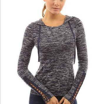 Crochet Lace Sleeve Hoodie T-Shirt