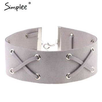 Simplee Sexy suede cross ribbon necklace Women autumn elegant chain chocker black torque Vintage white accessories necklace
