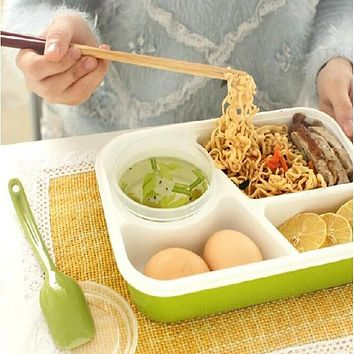 Urijk 4 Cells Healthy Plastic Food Container 1000ml Multifunction Adults Lady Kid Lunchbox Microwaveable Lunch Bento Box