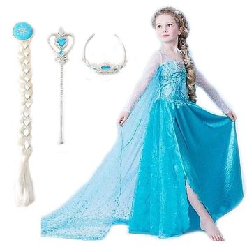 Girls elsa dress Costumes for kids snow queen Movie cosplay dresses princess anna Dress children party dresses fantasia vestidos