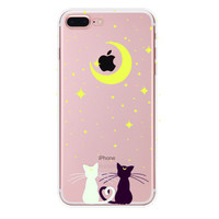 Moon and Cat Case for iPhone 7 7Plus & iPhone se 5s 6 6 Plus High Quality Cover +Gift Box-90
