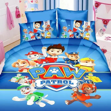 3d bedding set popular PAW Patrol Reactive printing duvet cover bed sheet 3pc boys bedroom decor blue polyester single twin size