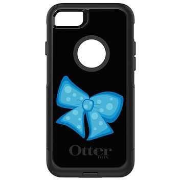 DistinctInk™ OtterBox Commuter Series Case for Apple iPhone or Samsung Galaxy - Light Blue Black Bow Ribbon