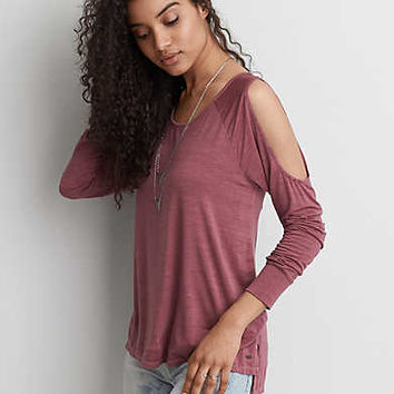 AEO Soft & Sexy Cold Shoulder T-Shirt, Wine