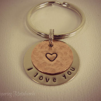 Metal stamped key chain - silver and copper- heart - I LOVE YOU - hammered and polished