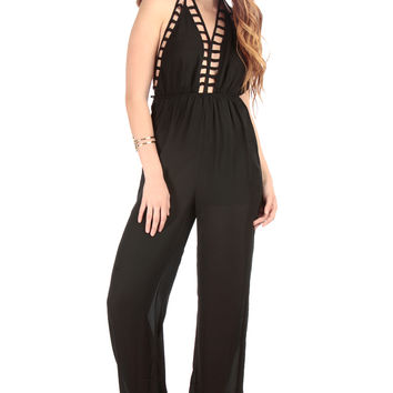 Caged Halter Neck Palazzo Jumpsuit