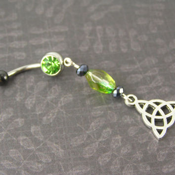 Belly Button Ring Jewelry ~ Celtic Trinity Knot Green & Black Navel piercing jewelry Tribal Bohemian Irish Triquetra Trinity Knot