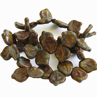 Czech Glass Beads 14x12 Leaves Yellow Brown Verdigris Picasso 15 Pieces  B706
