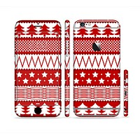 The Red and White Christmas Pattern Sectioned Skin Series for the Apple iPhone 6s Plus