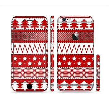 The Red and White Christmas Pattern Sectioned Skin Series for the Apple iPhone 6/6s Plus