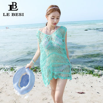 LEBESI 2017 New Beach Suit Lace Mesh Beach Pareo Crochet Shawl Sarong Transparent Wrap Halter Top Beachwear Cloak Bathing Suit