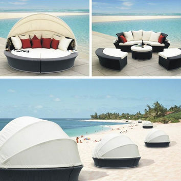 2017 Seaside Outdoor Rattan Furniture Daybed round bed